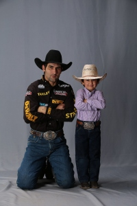 Silvano Alves and Son. OKC studio shoot. Built Ford Tough series PBR. Photo by Andy Watson